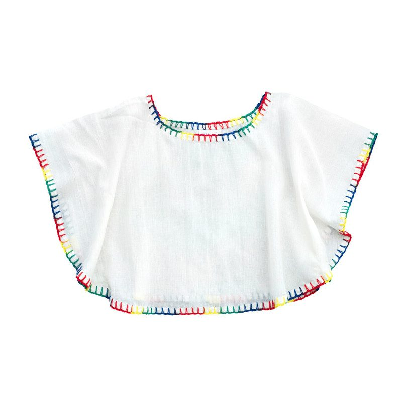 388b46781501 Butterfly Blouse, Natural with Rainbow Stitching - Tops - Maisonette