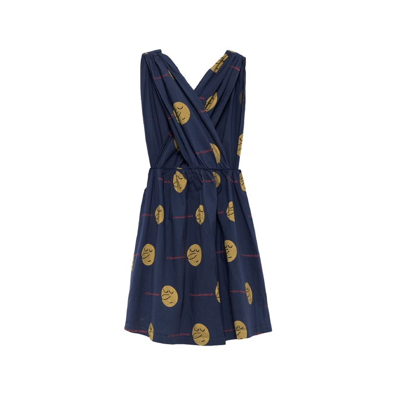 Goose Dress, Deep Blue Yellow Faces
