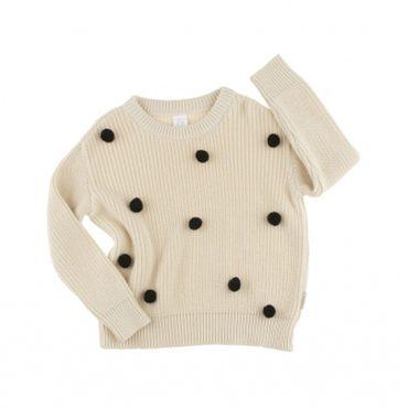 Pom Poms Oversized Sweater, Beige