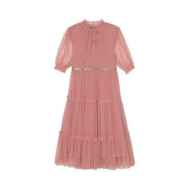 Carolina Tiered Dress, Rose Dot Mesh