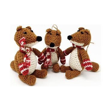 Crochet Fox with Scarf Ornament, Brown