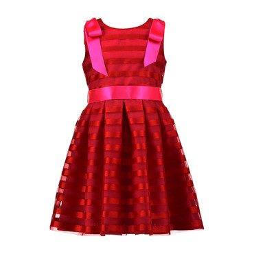 Striped Organza Bow Dress, Red with Pink Bow