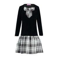 Velvet & Plaid Dress, Black