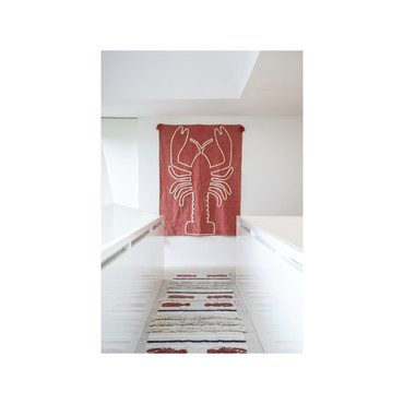 Giant Lobster Washable Wall Hanging, Brick Red