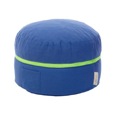 Contrast Zipper Storage Pouf, Blue
