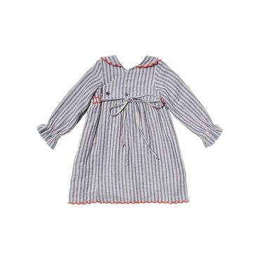 Liza Dress, Indigo Stripe