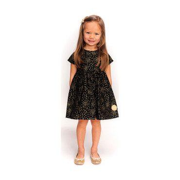 Sunday Dress, Golden Stars on Black