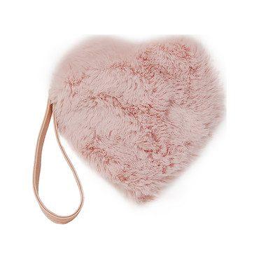Faux Fur Heart Wristlet