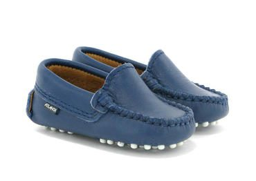 Baby Plain Vamp Mocassin in Smooth Leather, Ocean