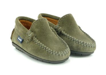 Toddler Plain Vamp Mocassin in Suede, Taupe