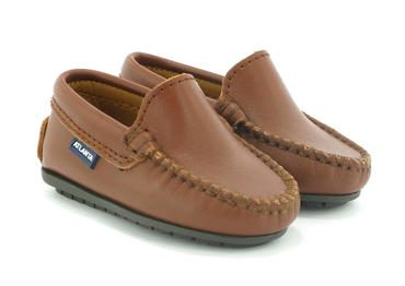 Toddler Plain Vamp Mocassin in Smooth Leather, Cuoio