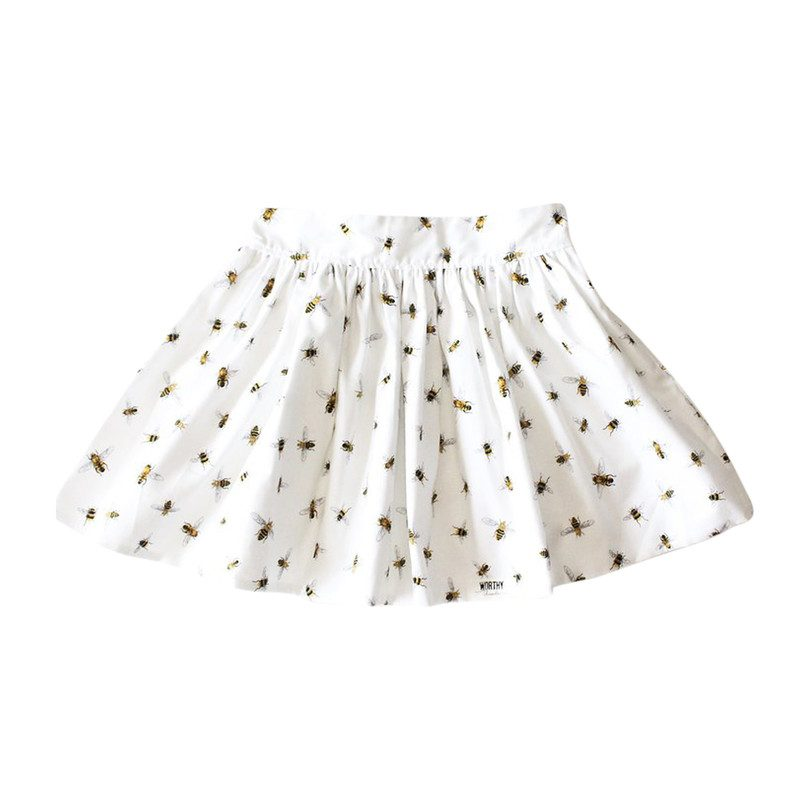 Cotton Pleated Skirt, Honey Bees