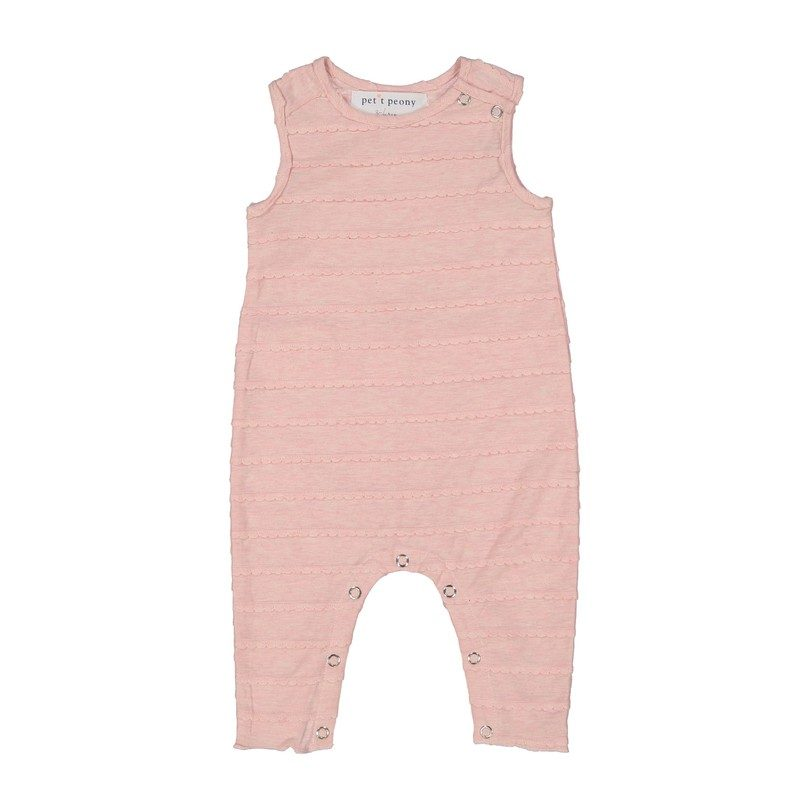 Monogrammable Scalloped Romper, Baby Pink