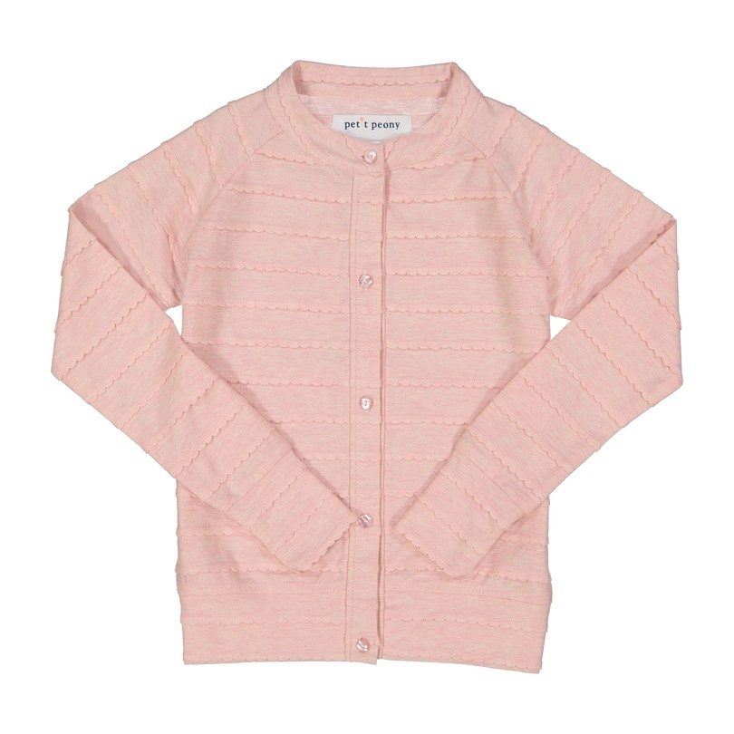 Monogrammable Scalloped Cardigan, Pink