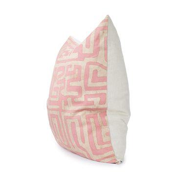 Terracotta Classic Kuba Cloth Floor Pillow, Pink