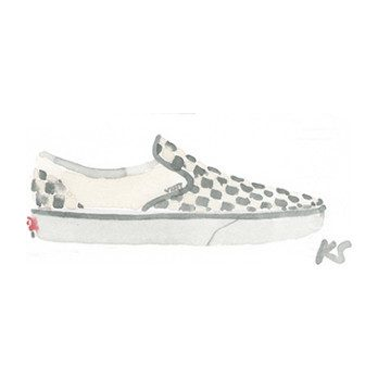"Checkerboard Vans, 6.25"" x 2.5"""