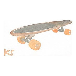 "Orange Wheeled Skateboard, 6.5"" x 4.5"""