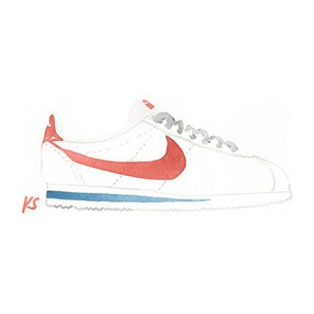 "Red Nike Cortez, 10.75"" x 5.5"""