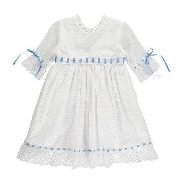 Riley Dress, White & Blue