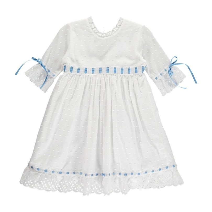 Riley Dress, White & Blue