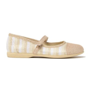 Striped Shimmer Canvas Mary Janes