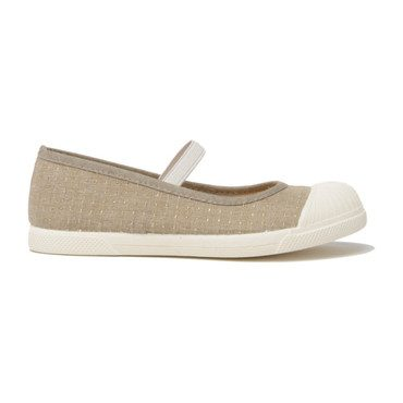 Canvas Elastic Mary Janes, Taupe