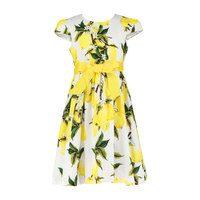 Cotton Lemon Party Dress, White
