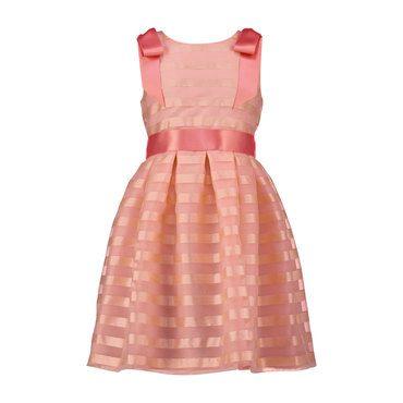 Striped Organza Bow Belt Dress, Pale Pink