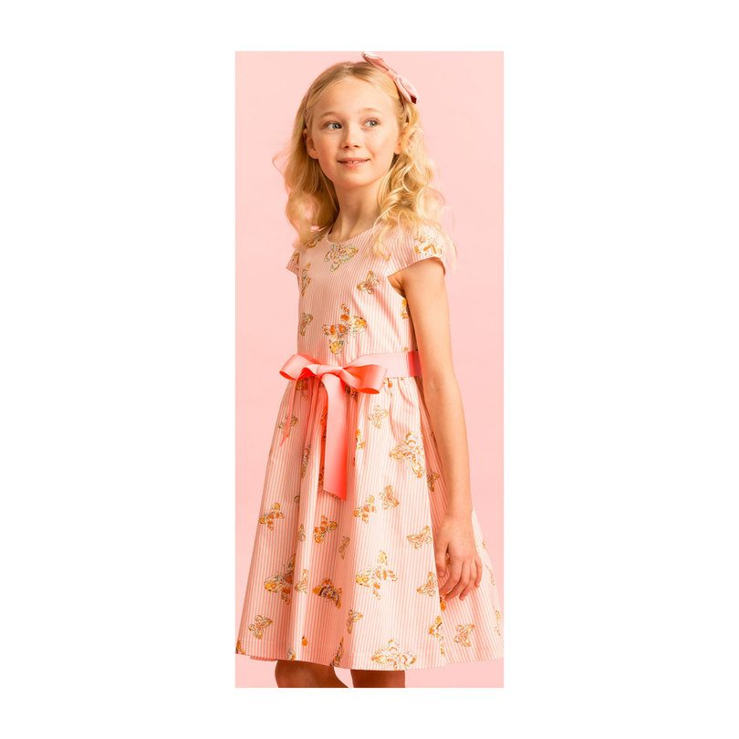 Cotton Butterfly Party Dress, Pink