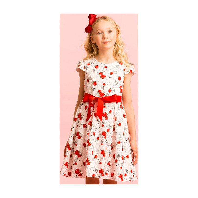 Cotton Strawberry Party Dress, White