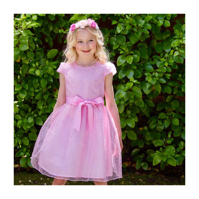 Organza Spot Party Dress, Pale Pink