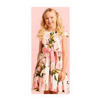 Cotton Pink Fruit Party Dress, White