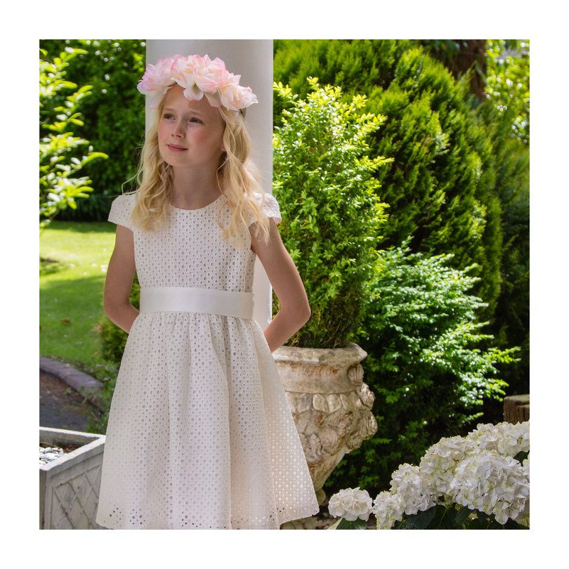 Cotton Embroidered Party Dress, White