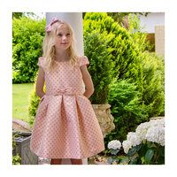 Floral and Sparkle Jacquard Party Dress, Pink