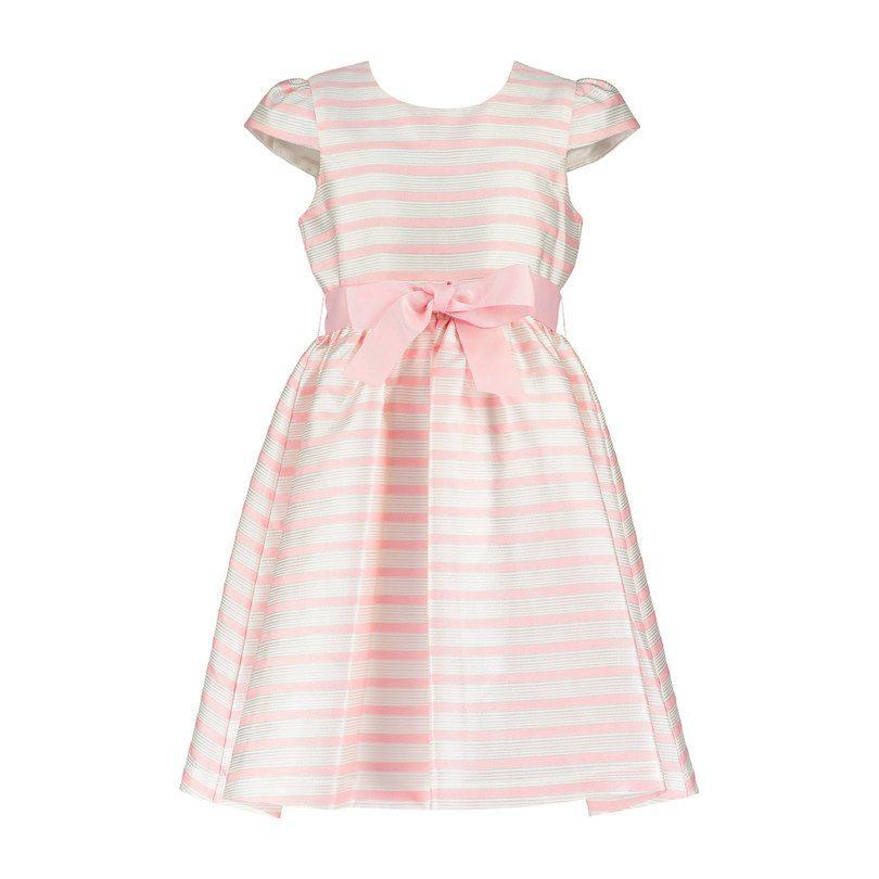 Striped Jacquard Party Dress, Pink & White