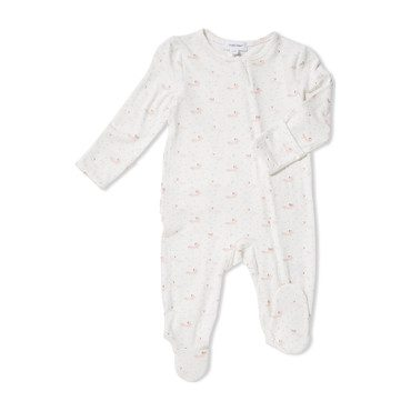 Baby Fox Zipper Ruffle Back Footie, Pink