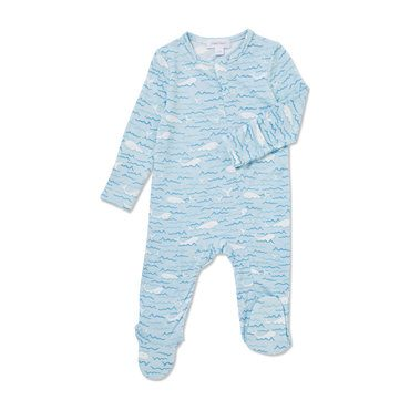 Baby Beluga Zipper Footie, Blue