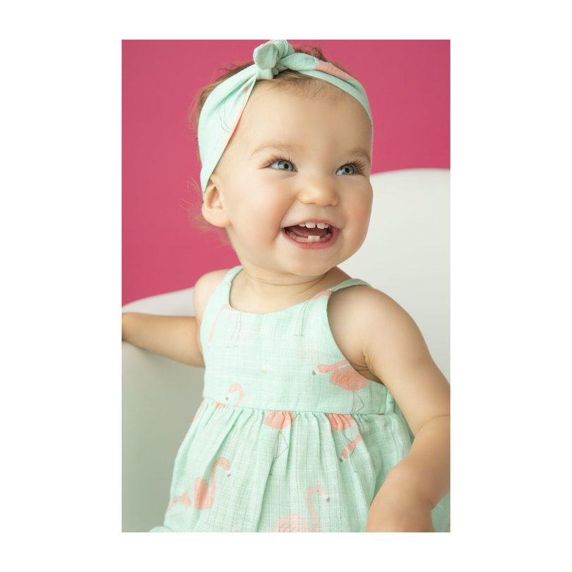 Muslin Romper with Bow Back, Flamingo