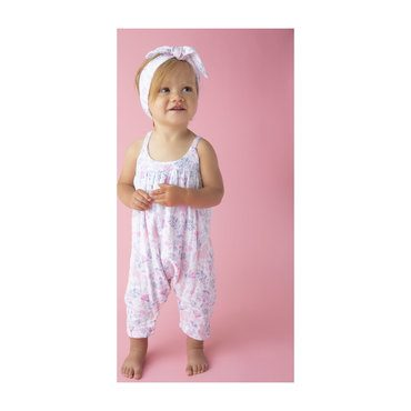 Muslin Romper with Bow Back, Unicorn