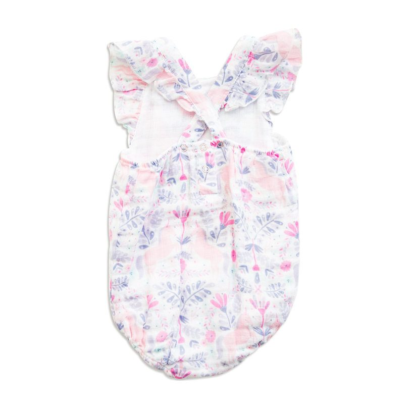 Muslin Ruffle Sunsuit, Unicorn