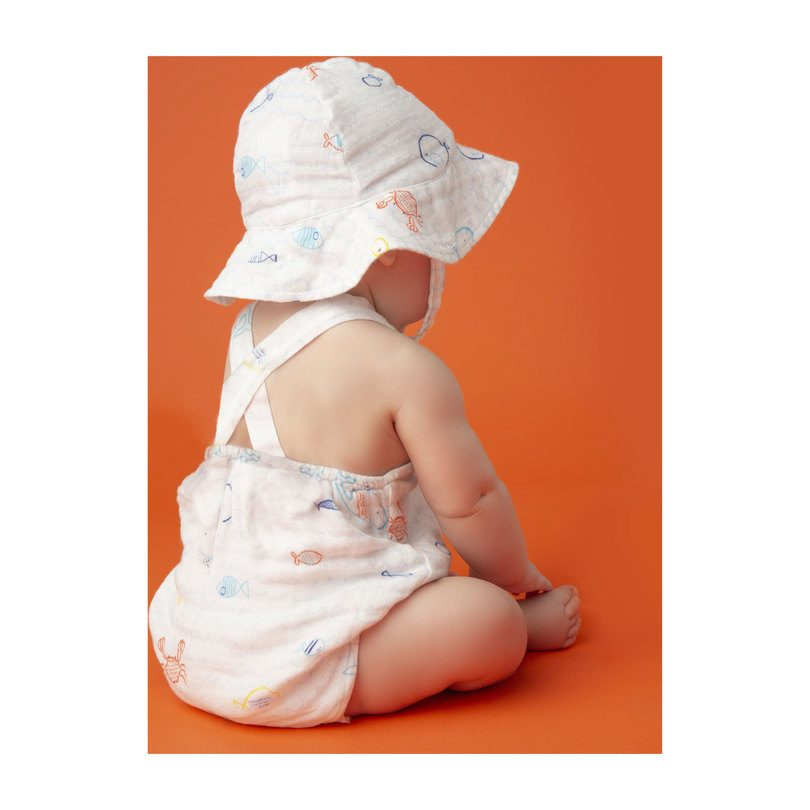 Muslin Retro Sunsuit, Little Fishies