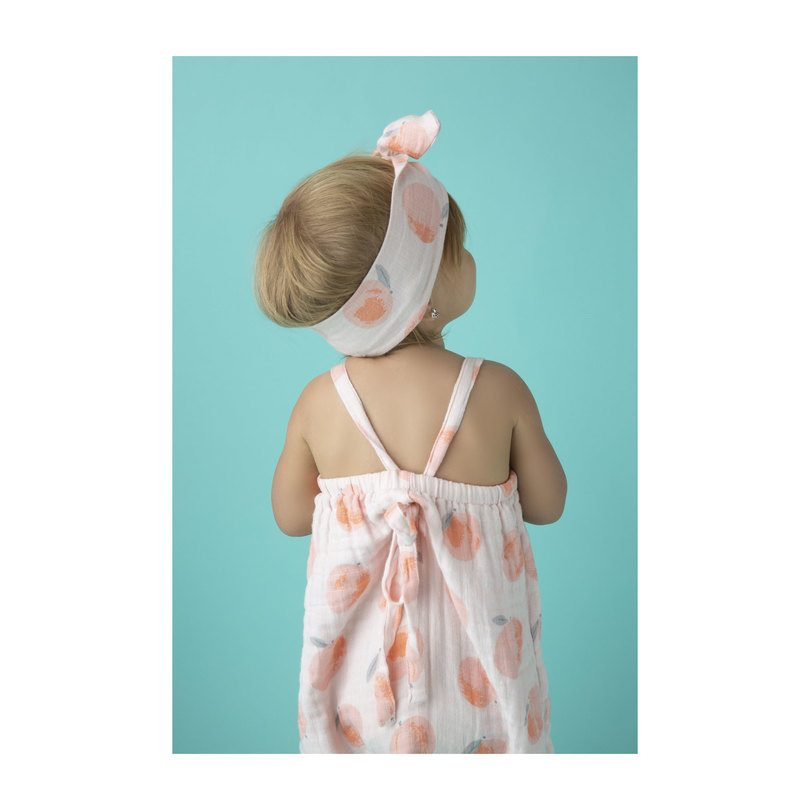 Muslin Romper with Bow Back, Peach