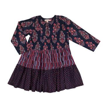 Penelope Dress, Blues Block Prints