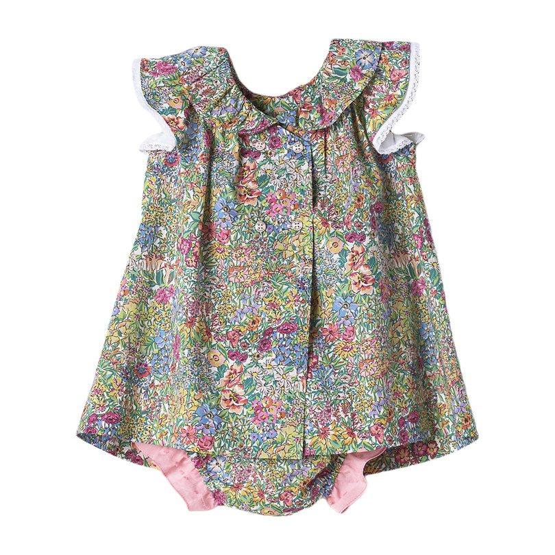 Liberty Print Baby Dress with Bloomer
