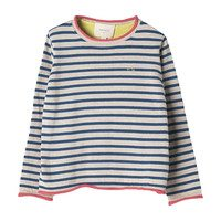Striped Cotton Sweater, Blue and Ivory