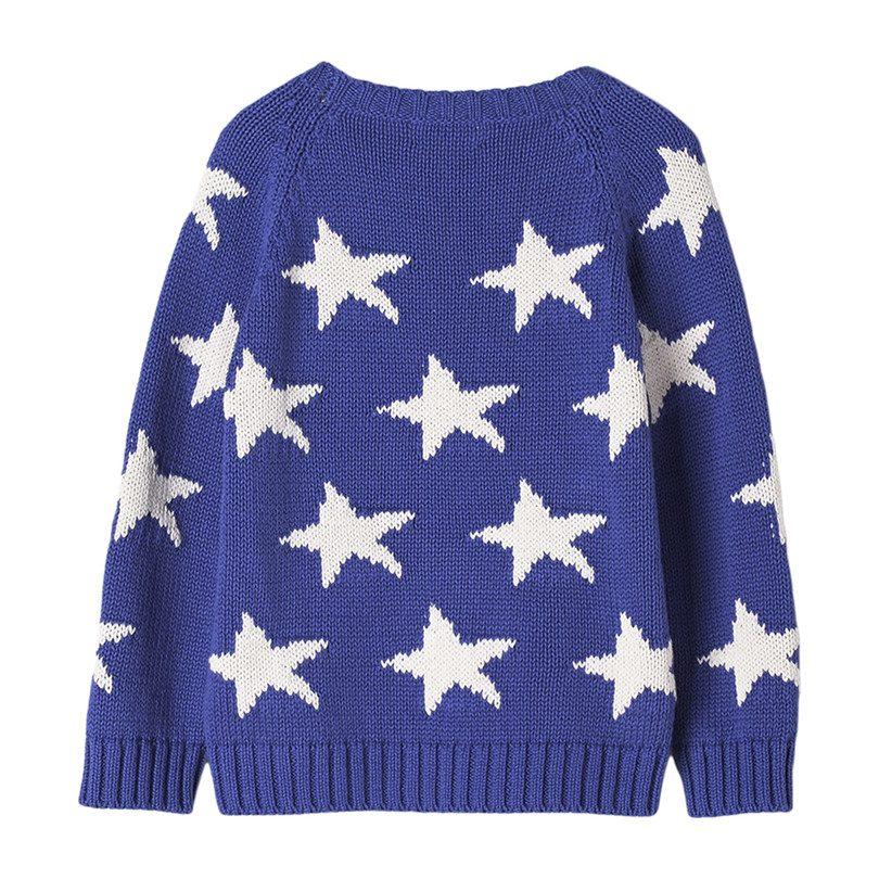 Cotton Star Intarsia Sweater, Blue