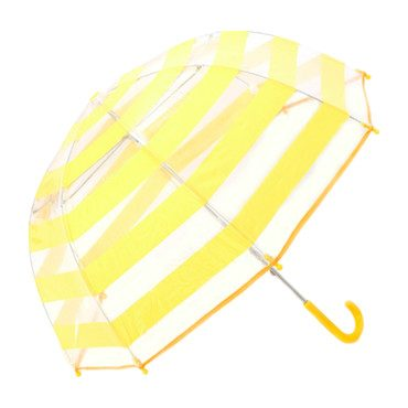 Umbrella, Clear with Yellow Stripes