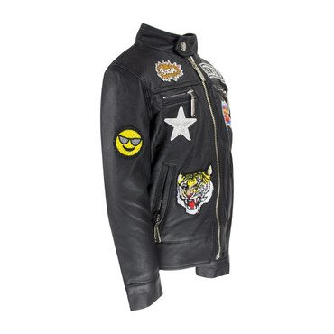 Boy All About the Patch Vegan Leather Jacket, Black