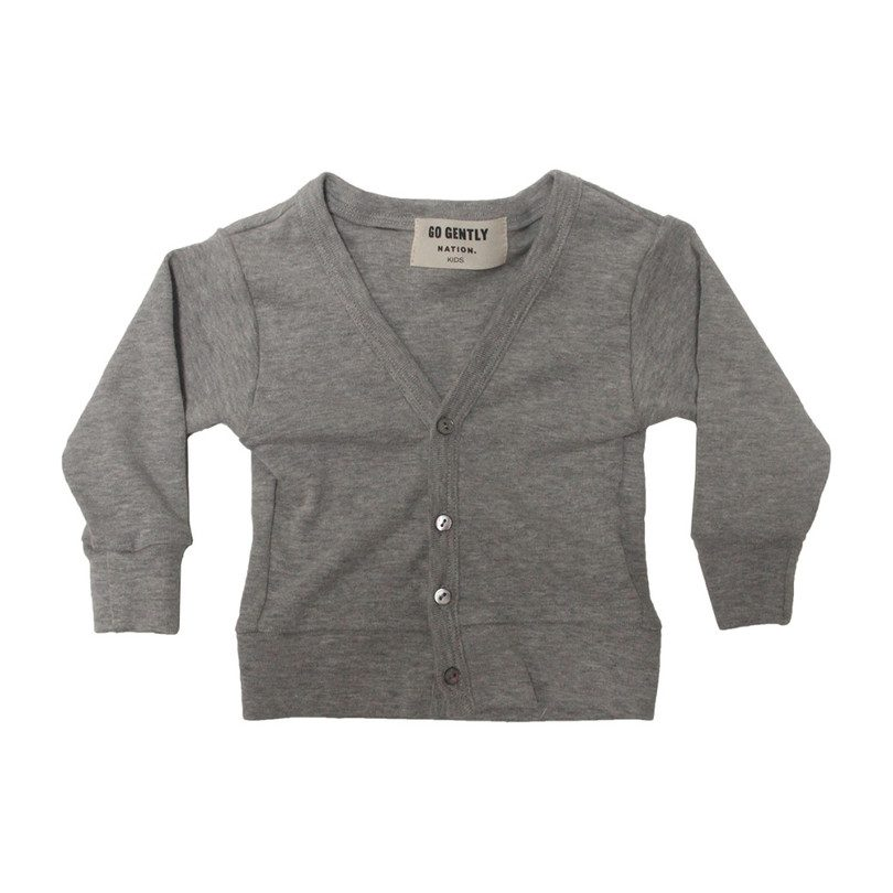 Rib Cardigan, Heather Grey