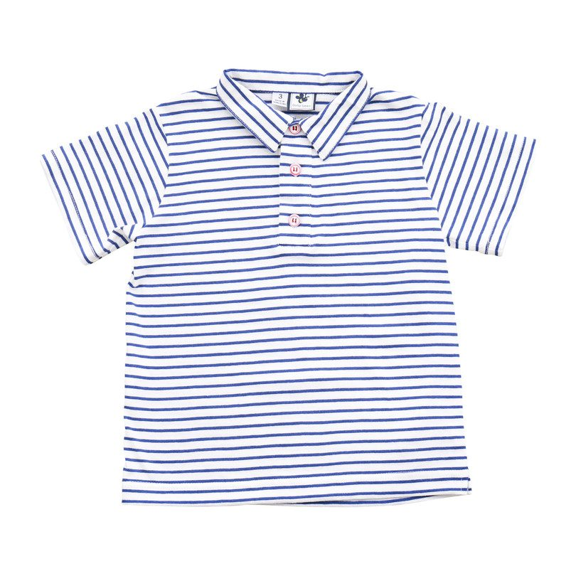 Busy Bees Polo, Blue Stripe